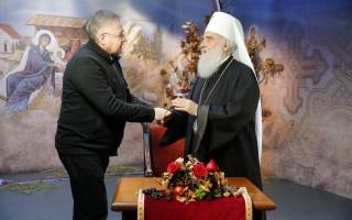 Patrijarh Irinej i Drago Pilsel Foto: Pedja Milosavljevic